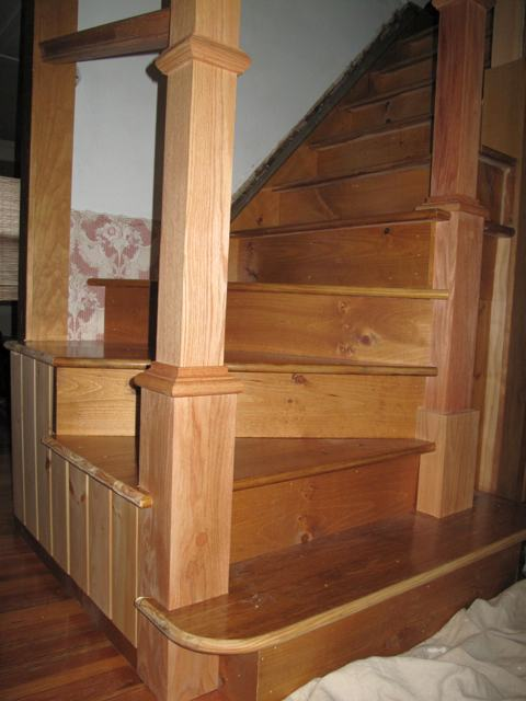Photo of Andres newly built hardwood staircase.