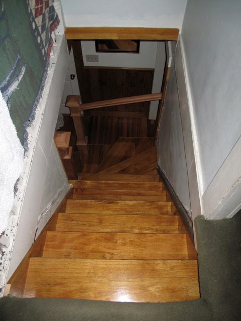 Photo of Andres new hardwood staircase from the top.