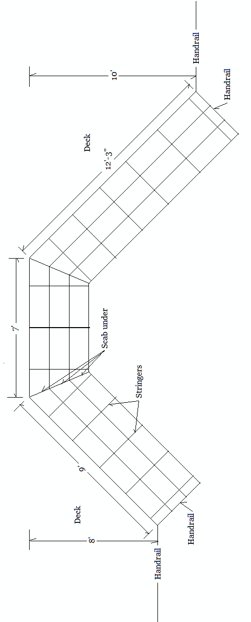 Diagram of deck stairs with measurements for our member, Chet.