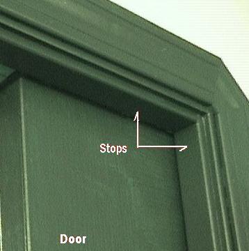 Photo of door stops for a sliding or pocket door.