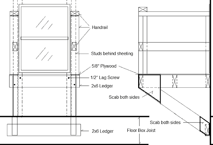 Drawing of a platform outside a window to be used in case of fire to hold two people until the fire department comes.