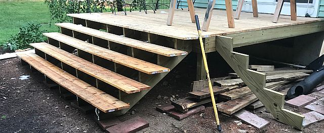 Photo of backyard deck stairs from a member of our site.