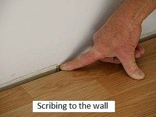 Photo of scribing to a wall.