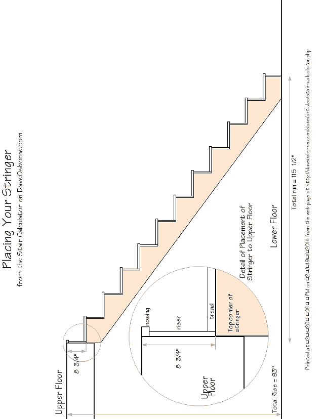 Diagram of the 11 stair stringer with detail of how it is attached to the upper floor with measurements.