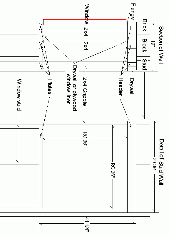 Diagram of detail of stud wall with measurements.
