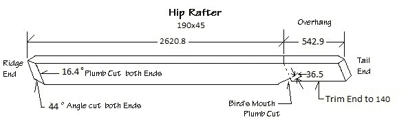 Diagram of hip rafter for our 3600mm gazebo showing plumb cuts, bird mouth with measurements and angles.