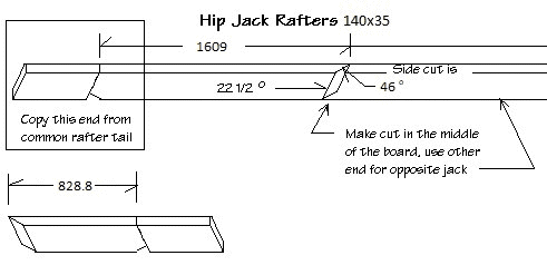 Diagram of hip jack rafter for our 3600mm gazebo with measurements and angles.