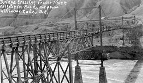Photo of original wooden bridge across the Fraser River outside Williams Lake, BC.