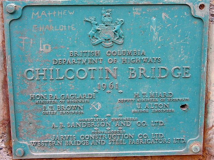 Photo of the plaque on the steel bridge Dad built in 1961 that is still being used.