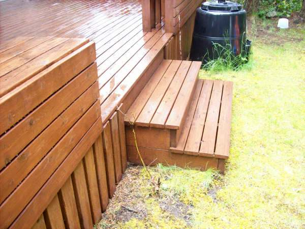 Photo of backyard deck stairs.