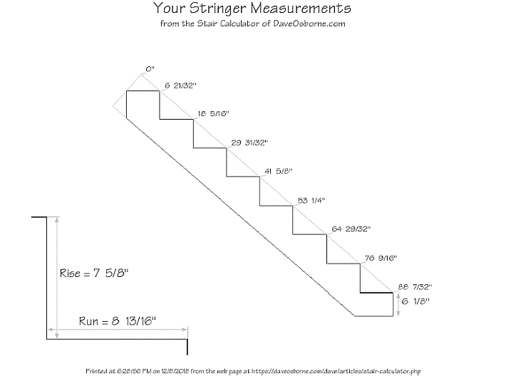 Diagram from our Stair Calculator of a 8 step stair stringer with measurements.