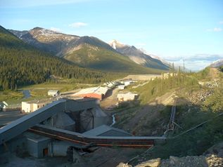 Photo of the mine site outside Tungsten, BC.